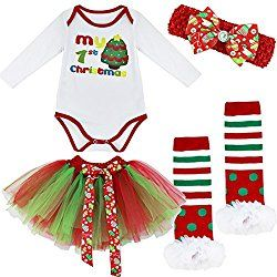iiniim Baby Girls My First Christmas Tree Romper Fancy Dress Up Outfit Set Clothing Christmas Tree 0-3 Months