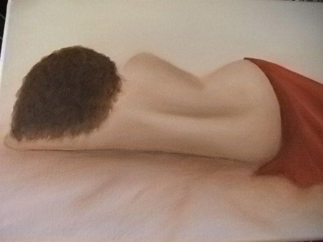 PEINTURE A L'HUILE : JEUNE FEMME NUE ALLONGEE SUR LE COTE : Peintures par chic-et-jolie