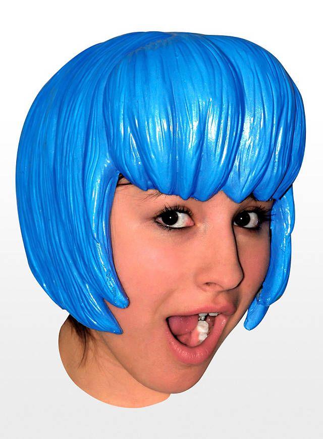 Cosplay blau Perücke aus Latex