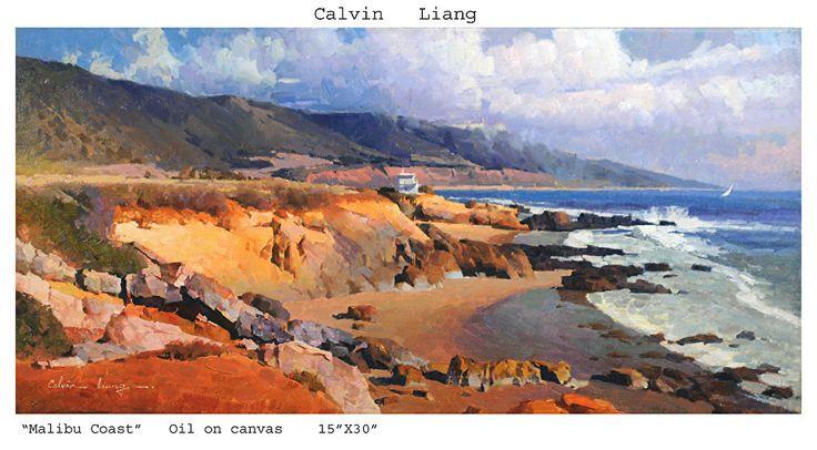 "Malibu Coast by Calvin Liang Oil ~ 15"" x 30"""