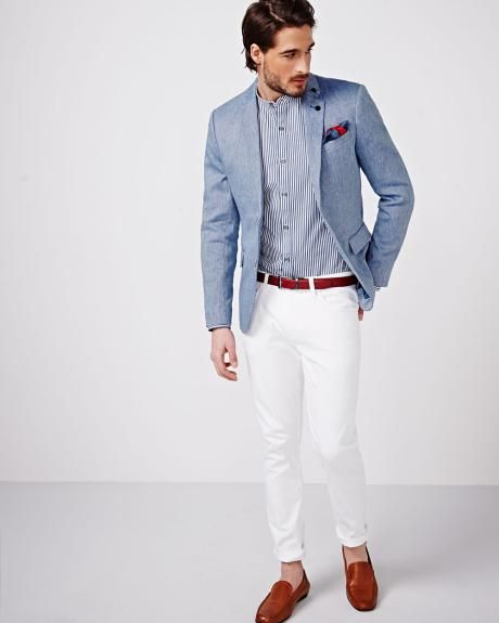Linen Blend Slim Fit Blazer