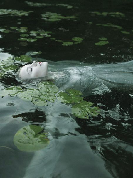 girl flowers moss drowned water lily dead girl Green Water mossy statue chapel in the woods