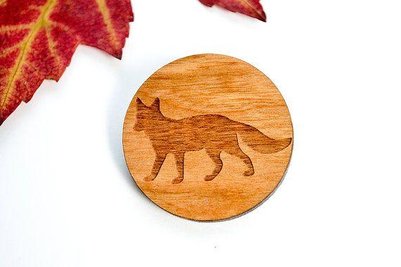 Wooden brooch Fox Retro Laser cut pin pin with fox by Strickzeit