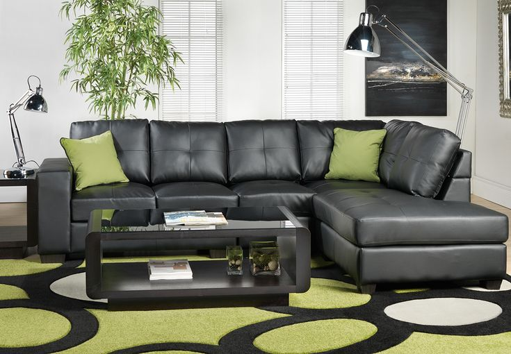 Attractive Living Room Ideas With Black Leather Sectional Part - 11: Comfortable Black Leather Sectional Sofa And Green ... | APT Apartment  Design | Pinterest | Picasso, Upholstery And Living Room Furniture