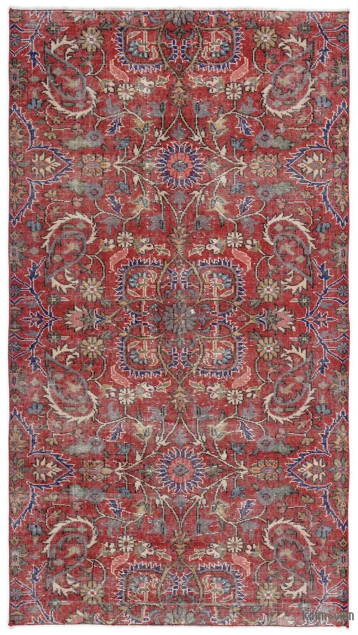 Turkish vintage rug hand-woven in 1960's and in very good condition. Piles of this rug were trimmed in order to give a contemporary look.
