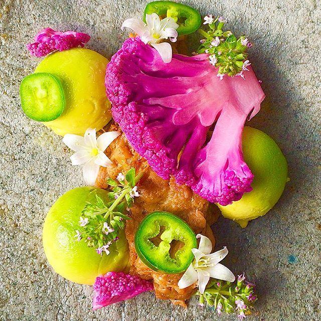 "#tacotuesday Organic blue corn tortilla, vegan ""pulled pork"" jackfruit, pickled purple cauliflower, avocado, serrano pepper, and hooker's onion blossoms. #cooking #vegan #healthyfood #organicfood #farmtotable #nutrition #jackfruit #edibleflowers #avocado #purplecauliflower #serrano #tortilla #seattlefoodie #tacos #theartofplating #gastronomy #foodphotography #foodstyling #bluecorn #dairyfree #vegantacos #glutenfree"