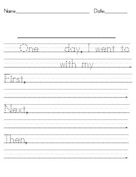 This is writing paper that you can use to help students who are just beginning to write a narrative paper.  Sentence frames are provided so that students can trace selected words and then fill in the blank lines.  Related Common Core Standards: Kindergarten CC Standard: CCSS.ELA-Literacy.W.K.3 Use a combination of drawing, dictating, and writing to narrate a single event or several loosely linked events, tell about the events in the order in which they occurred, and provide a reaction to ...