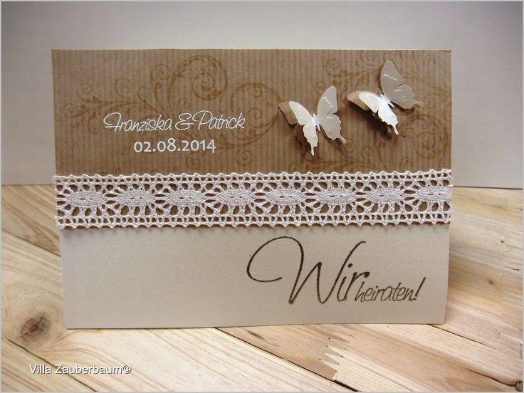 Hochzeitseinladung Vintage Butterfly - Hochzeitskarten selber basteln. Ganz einfach und schnell mit unserem Bastelsets.