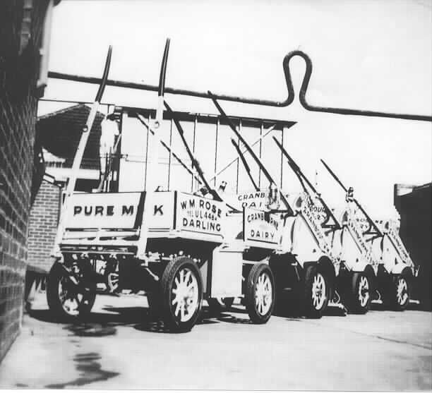 MP5085. View of milk carts at Cranbourne Dairy in Darling Road East Malvern; 1937