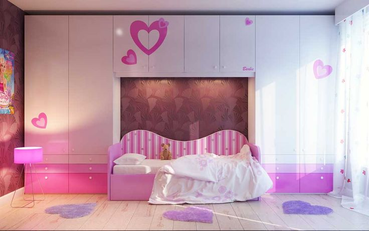 Large Modern Bedroom Cupboards with unique purple wooden single bed on cream solid wood floor