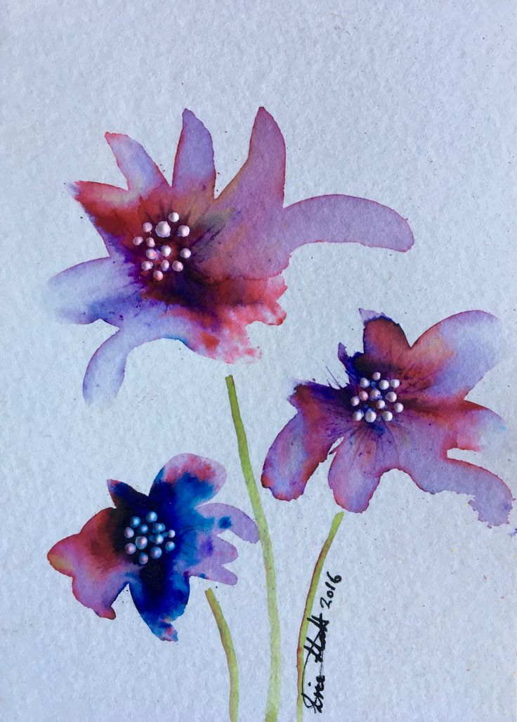 """""""Petals and Pearls"""" - Brusho watercolour crystals with a touch of acrylic paint on A6 size watercolour paper by Lise Holt."""