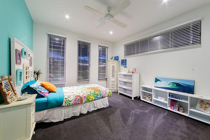 Girls bedroom aqua and white