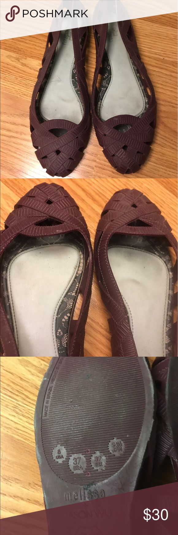 Dark purple Melissa flats Size 8 USA , no trades. Smells like bubble gum. Used a couple of times Melissa Shoes Flats & Loafers