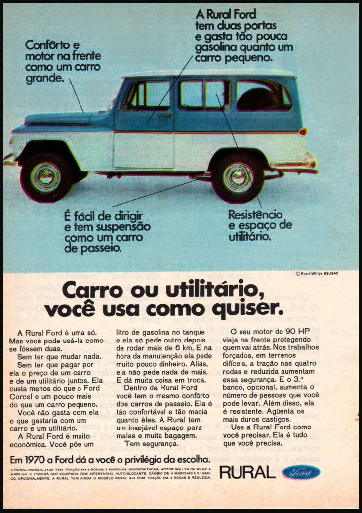 Anúncio Ford Rural Willys (1970)