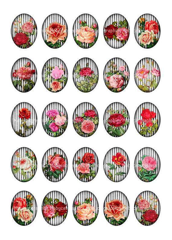 Rosas imprimible ovalada sobre fondo rayas blanco y negro para joyero, cabujones y otras elaboración. Usted recibirá 4 hojas de collage: * 1 hoja para imprimir con imágenes oval de 30 x 40 mm * 1 hoja para imprimir con imágenes ovalada 22 x 30 mm * 1 hoja para imprimir con imágenes