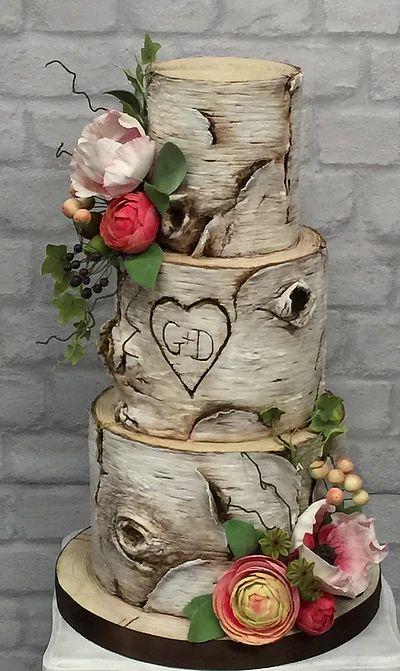 Silver birch wedding cake with hand made sugar flowers ...