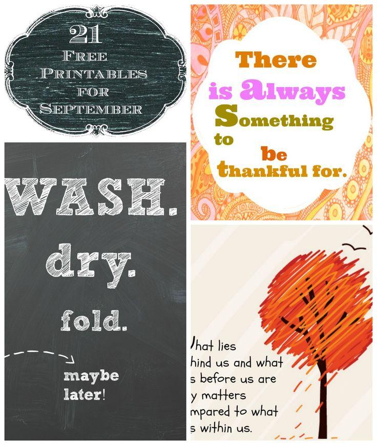 21 Free printables for September