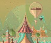 A whimsical fantasy landscape with circus tents