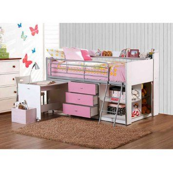 Pink and White Kids Loft Bed with Storage and Work Desk Twin Size Childrens Teens Bedroom Furniture ON SALE! Lofted Girls Beds Are a Great Place to Sleep and Fit in with Any Decor. Spacious Cabinet with Adjustable Shelves 3 Draws and Safety Rails by Savannah