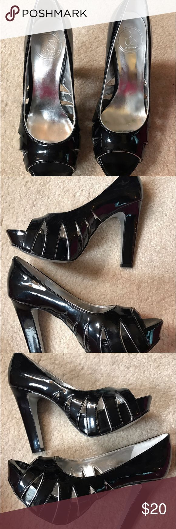 Jessica black patent leather pumps Sexy Jessica Black Patent Leather pumps. Barely worn; minor scuffs. Size 6B/36 Jessica Simpson Shoes Heels