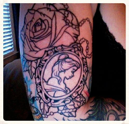 Outline for beauty and the beast piece. By Mat Purdy of Lucky Draw Tattoo (Dallas, GA)