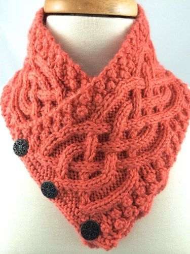 Irish Celtic Knot Neckwarmer Trinity Knot Persimmon Handknit Orange | jazzitupwithdesignsbynancy - Knitting on ArtFire