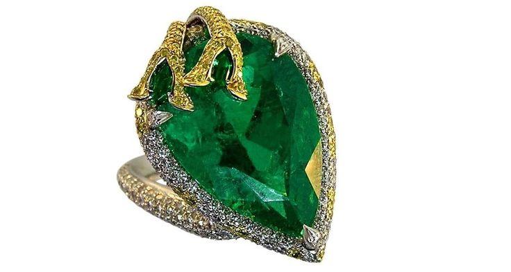 15.36 Carat GIA Certified Colombian Emerald Diamond Gold Platinum Ring