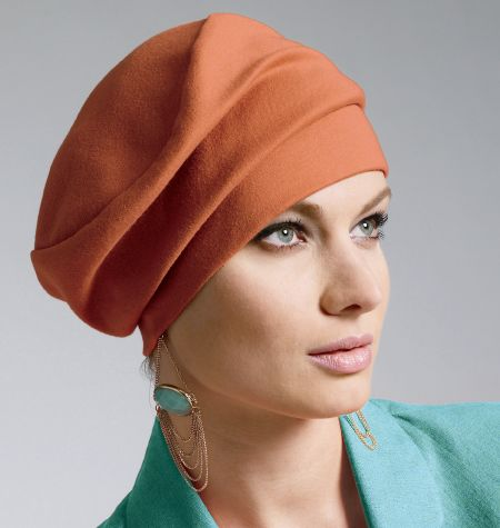 """Pattern - McCall's 6521, Hat C.  For all sizes, 1/4yd. of 60"""" moderate-stretch fabric.  (Source: Joann's store.)"""