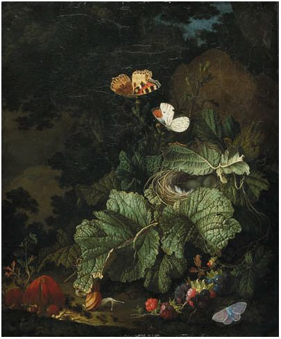 ELIAS VAN DEN BROECK  A forest floor still life with a bird's nest, toadstools, snails, blackberries, Tortoiseshell, Aurora, and Common Blue butterflies