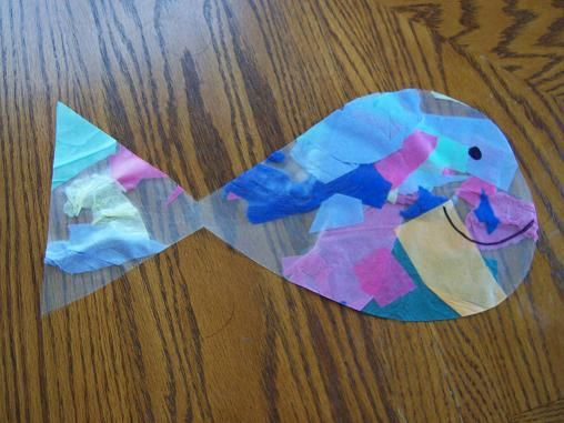 Rainbow fish with contact paper and tissue paper