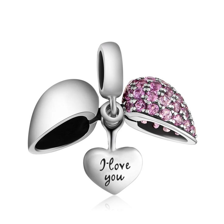 925 Sterling Silver I Love You Heart Crystal Charm Bead Fit Pandora Bracelets FmyBx37