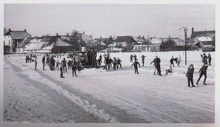 De ijsbaan van Aduard in 1950 - Foto: familie Vrieling