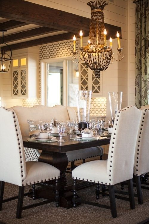 Love this dining table with the nailhead chairs. Different fabric for chairs