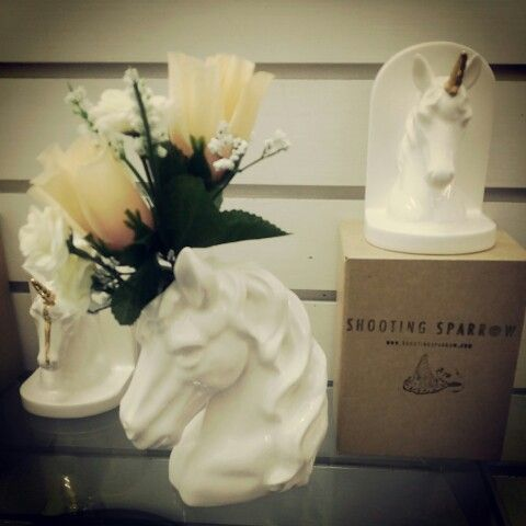 Unicorns forever!!! Ceramic vase and bookends by Shooting Sparrow at Grant Bros