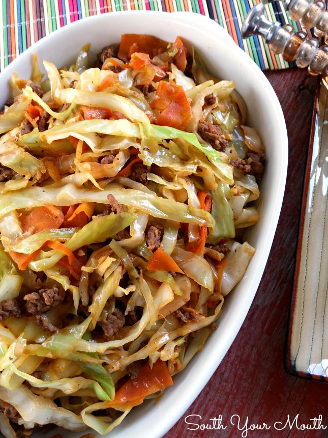 Egg Roll Stir-Fry: 1 pound ground beef or pork 1 large onion, diced 1 small head of cabbage 3 carrots 4-5 cloves garlic, minced 1 tablespoon grated fresh ginger 1/2 teaspoon black pepper 2 tablespoons sesame oil 1 tablespoon vegetable oil 1/4 cup soy sauce