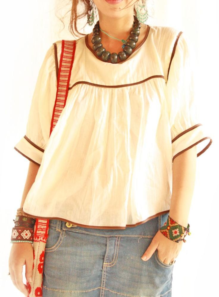 ...perfect little breezy top for summer...Crema y cafe Mexican cotton gauze blouse from Aida Coronado
