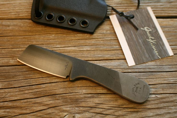 EDC Mini Cleaver Upcycled File Neck Knife w/ Kydex sheath by JaredKramerStudios on Etsy