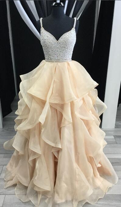 2018 prom dress, champagne long prom dress, straps champagne long graduation dress formal evening dress