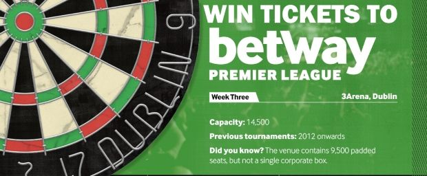 Win tickets to Betway Premier League Darts on Thurs in Dublin - http://www.competitions.ie/competition/win-tickets-betway-premier-league-darts-thurs-dublin/