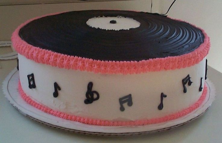 50's Sock Hop Record Cake French vanilla cake decorated with buttercream.