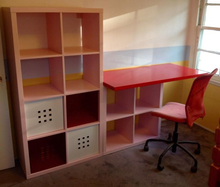 I IKEA Hacked a KALLAX kids desk for her to do her homework and art, as well as a place to store her books, stuff and art supplies