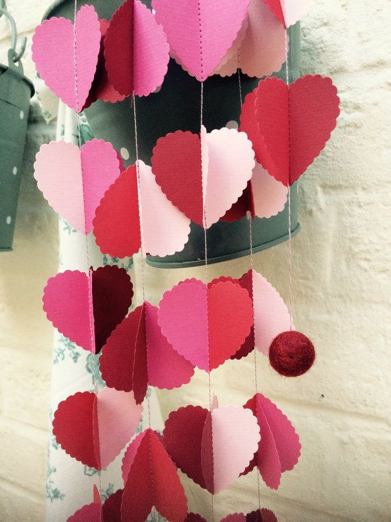 Valentines Day garland rustic wedding romantic by LaMiaCasa