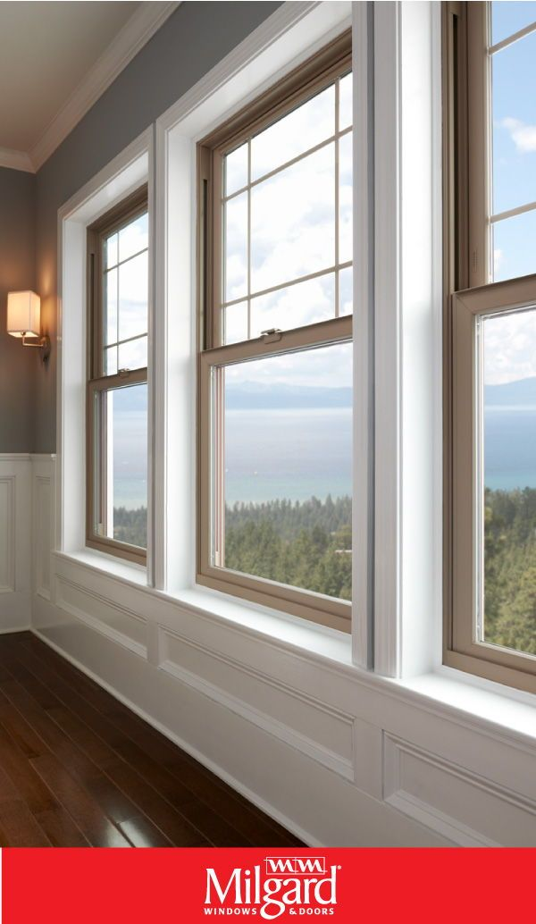 These Are Tan Vinyl Windows From The Milgard Tuscany Series Shown As Three Single Hung Windows Wi Single Hung Windows Interior Windows Modern Windows Design