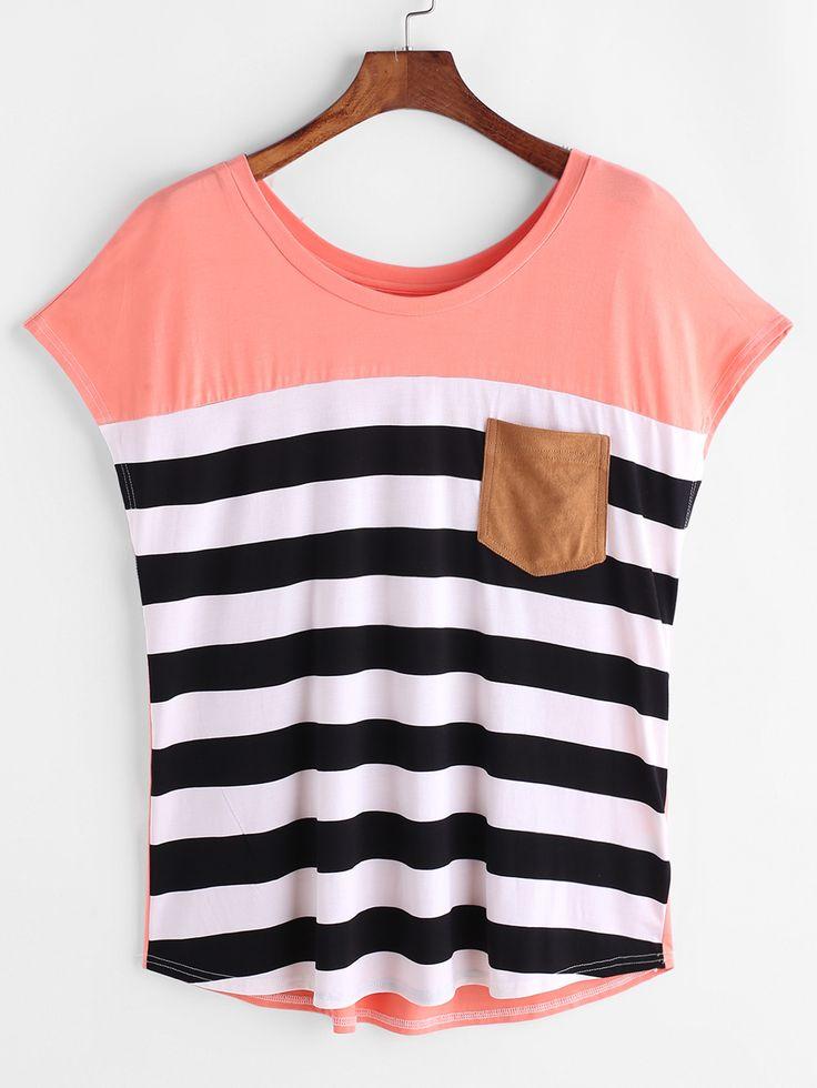 Camiseta de rayas con bolsillo en la parte delantera - rosa -Spanish SheIn(Sheinside)