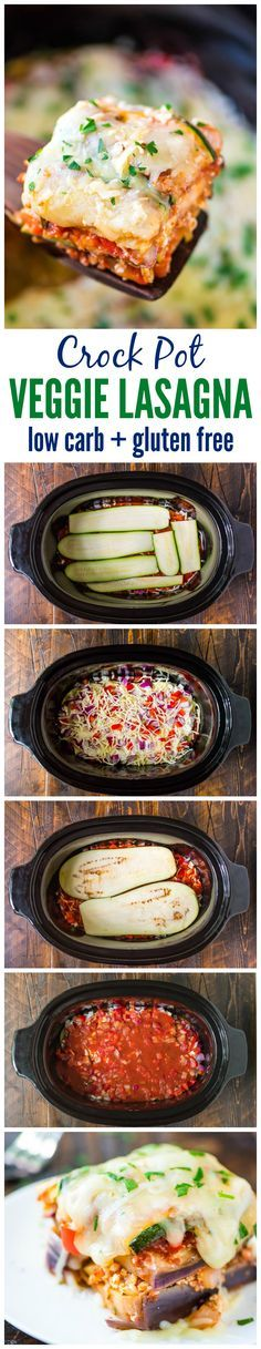 Delicious Crock Pot Low Carb Lasagna made with zucchini and eggplant instead of pasta — Less than 275 calories