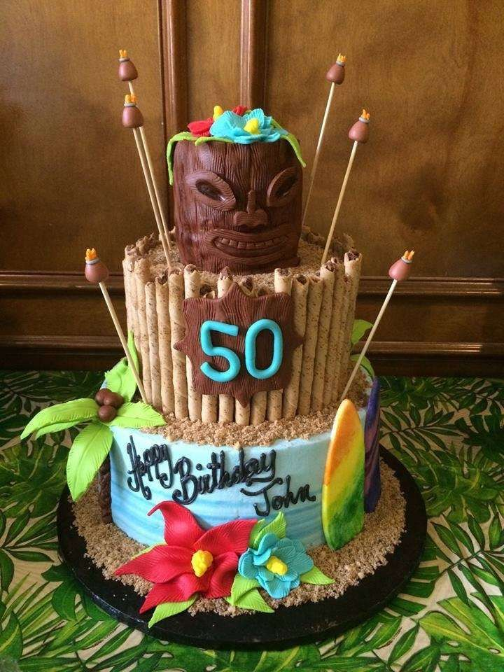 Tropical luau birthday party cake! See more party ideas at CatchMyParty.com!