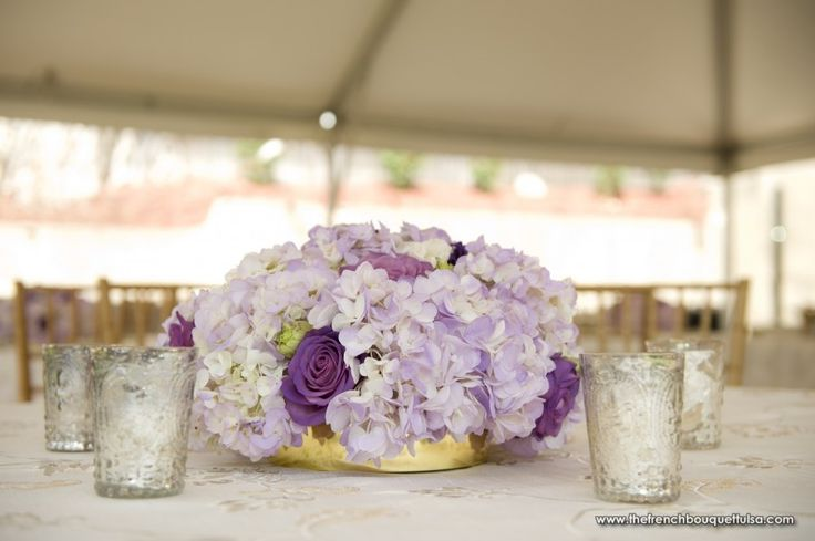 Low Light Purple Hydrangea and Blue Curiosa Rose Centerpiece. More simple option.