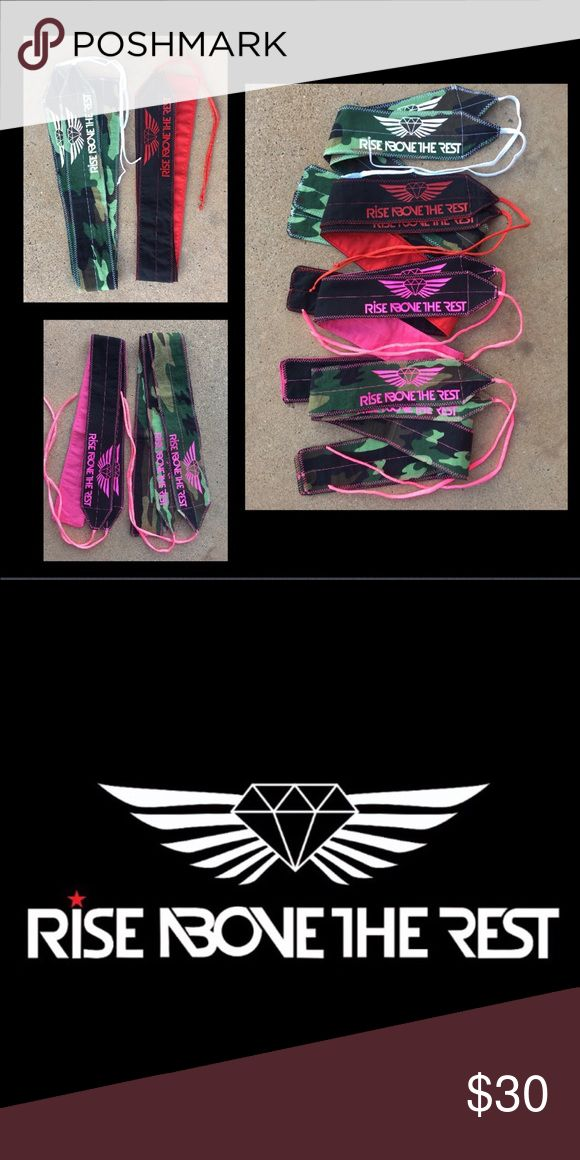 Weight Lifting wrist wraps Rise above the rest apparel. Weight lifting wrist wraps. Come in hot pink and black, camuflaje with white and red with black. rise above tbe rest apparel Other