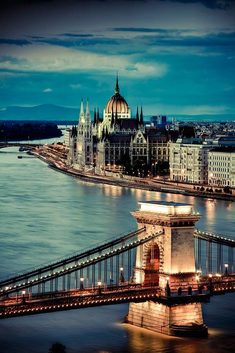 The Amazing Parliament and Chain Bridge in Budapest, Hungary