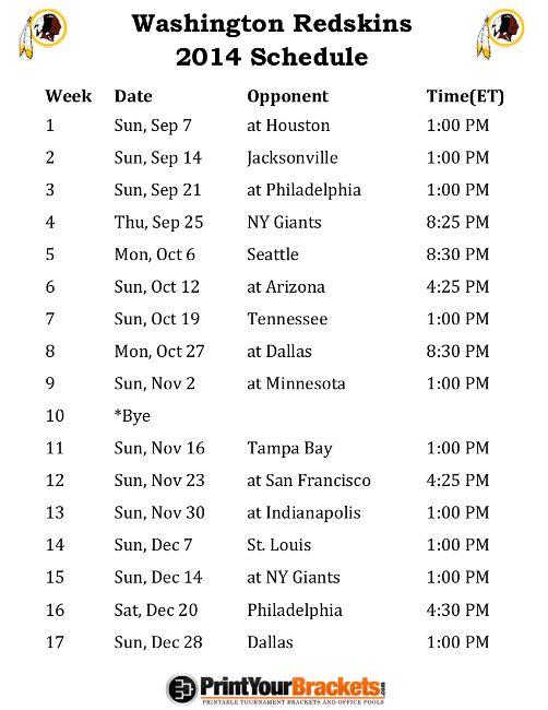 Printable Washington Redskins Schedule - 2014 Football Season